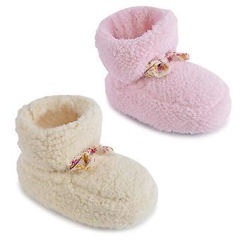 Koralle Fleece Stiefel Bootee/Bootie Hausschuhe für Kleinkinder/Kinder UK/EU Größen