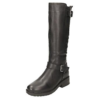 Carmela Flat Leather Stretchy Buckle Knee Boots