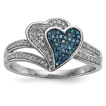 925 Sterling Silver Gift Boxed Rhodium banhadrhodium plated azul e branco diamante love hearts ring joias para W