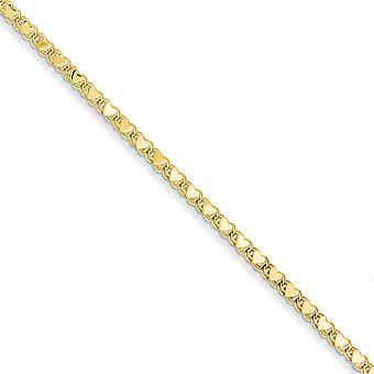 14 k Gelbgold poliert doppelseitige Liebe Herz Fußkettchen 10 Zoll Hummer Kralle Schmuck Geschenke für Frauen