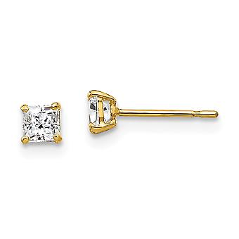 14k Yellow Gold Polished 3mm Square Cubic Zirconia Post Earrings Jewelry Gifts for Women