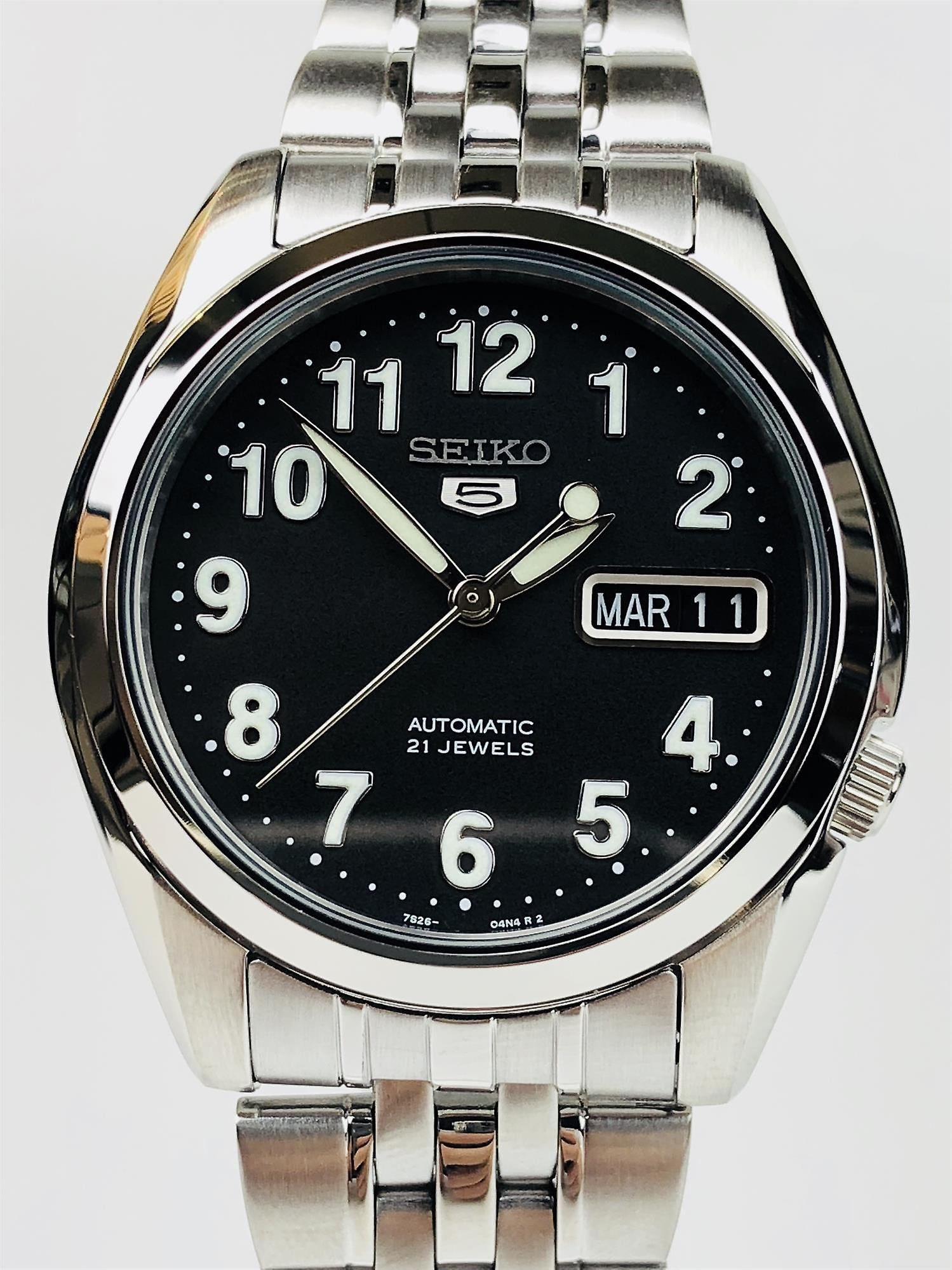Seiko 5 Automatic Black Dial Stainless Steel Men's Watch SNK381K1
