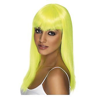 Womens Glamourama peruk Neon gul maskeraddräkter tillbehör
