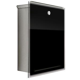 RAIO Letterman 3 aço inoxidável vidro preto caixa de correio - 559 b