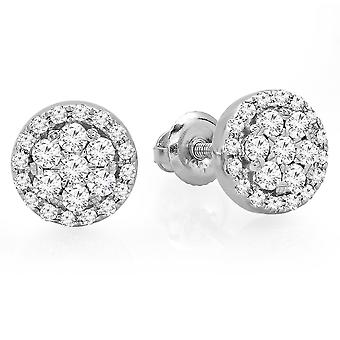 Dazzlingrock Collection 0.40 Carat (ctw) 14K Real Round Cut White Diamond Ladies Cluster Flower Stud Earrings, White Gold