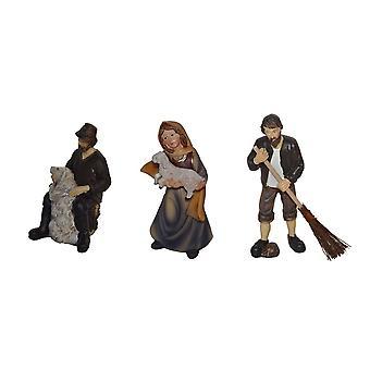 Figurine pentru pătuțuri 3-buc. Set de patinele polirasina de aproximativ 11 cm set de 3 Yard-Knecht cu orez-mătură ciobănesc oaie cu ciobănesc de oaie cu oi