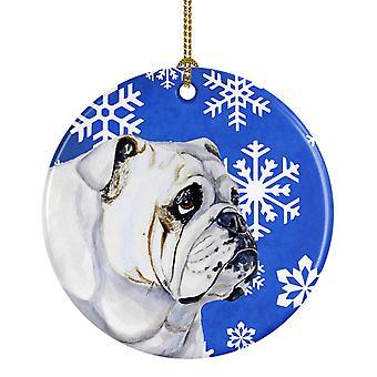 Bulldog Inglés invierno de LH9274 de adorno cerámica Holiday copo de nieve