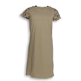 Liz Claiborne New York Dress XXS Lace Sleeve Bateau Neck Beige A264147
