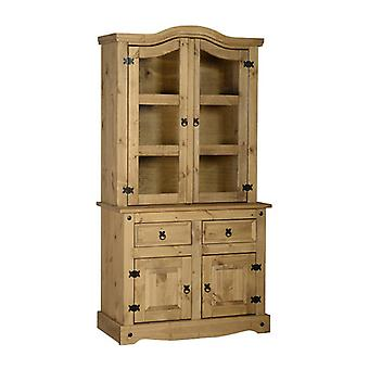 Corona buffet Hutch single distressed voks furu/glass