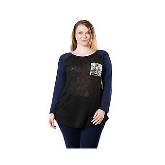 Women's Glitter Pocket Long Sleeve Mesh Shirt Plus Size