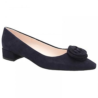 Peter Kaiser Low Heel Navy Suede Rose Court Chaussure