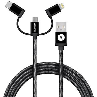 Champion USB Cable 3-in-1 USB-C/Micro-USB/Lightning 1, 5m Black