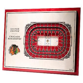 YouTheFan Drewno Ściana Dekoracja Stadion Chicago Blackhawks 43x33cm