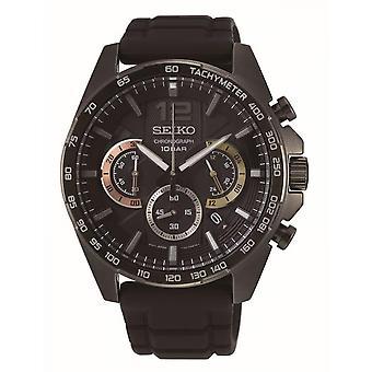 Uhr Seiko SSB349P1 - SPORT Chronograph/Dateur Black Steel Armband Bo Tier Stahl Schwarz Männer
