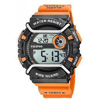 Montre Calypso K5764-1 - X-TREM Bracelet R�sine Orange Boitier R�sine Noir Homme