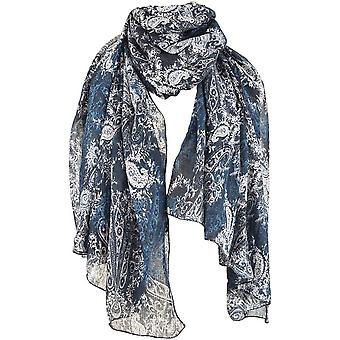 Michelsons of London Abstract Floral Paisley sjaal-Navy