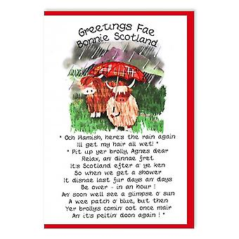 Embroidered Originals Greetings Fae Bonnie Scotland - Coos And Umbrelly Card