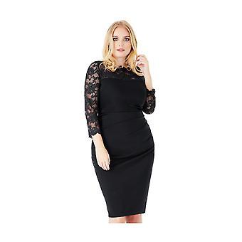 Goddiva Lace Neck 3/4 Sleeve Plus Size Midi Dress