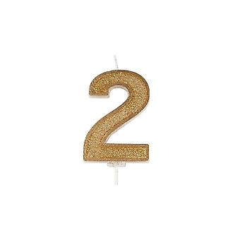 Culpitt Gold Sparkle numeral Candle-nummer 2-70mm-boxed 6