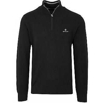 GANT GANT Half Zip Black Pique Sweatshirt