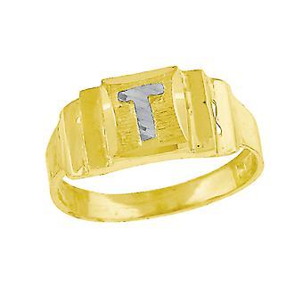 Erkek veya kız çocuklar için 10k İki ton Altın bebekLetter Adı Kişiselleştirilmiş Monogram İlk T Bant Yüzük Önlemler 6.3x2.50mm Geniş S