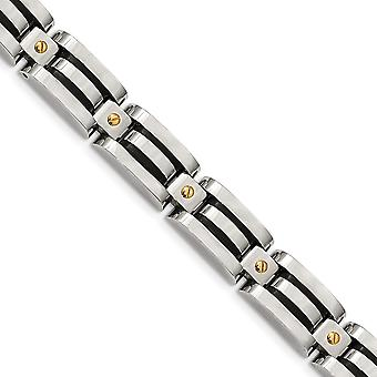 11.89mm Stainless Steel Polished Yellow Ip With Black Polyurethane Bracelet 8.25 Inch Jewelry Gifts for Women