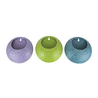Set of 3 Multi Color Ceramic Mounted Planters Hanging Wall Pocket Flower Pots