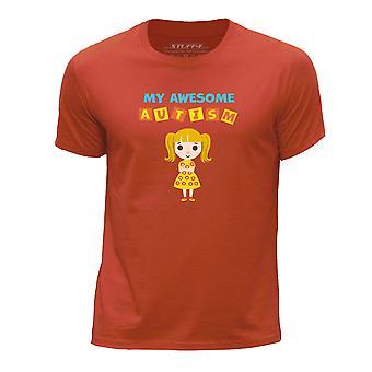 STUFF4 Boy's Round Neck T-Shirt/My Awesome Autism/Emily/Orange