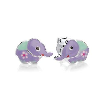David Deyong Children's Sterling Silver Purple Elephant Stud Earrings