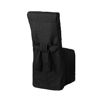 Schwarze Leinen Look Stoff gepolsterte Slipcover für Scroll Top Dining Stuhl