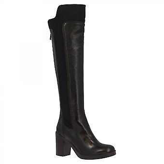 Leonardo Shoes Women-apos;s handmade talons genou bottes hautes bottes en cuir de veau noir zip arrière