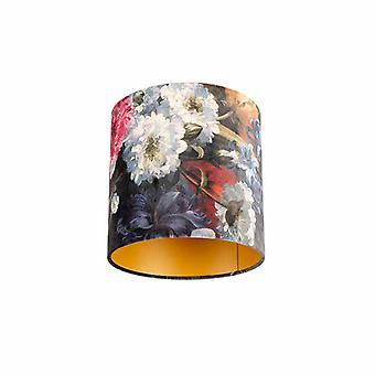 QAZQA Velor abat-jour floral design 25/25/25 intérieur doré