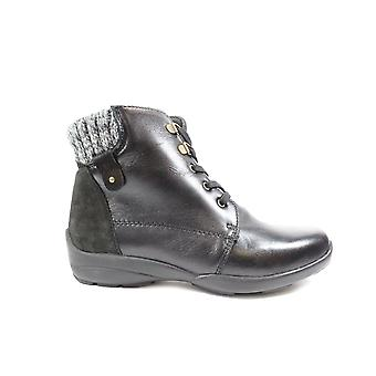 Fácil B Glanmore 2V Black Leather Womens Wide Fitting Ankle Boots