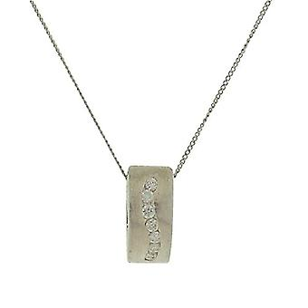 TOC Sterling Silver Clear CZ Swirl Oblong Pendant Necklace 18