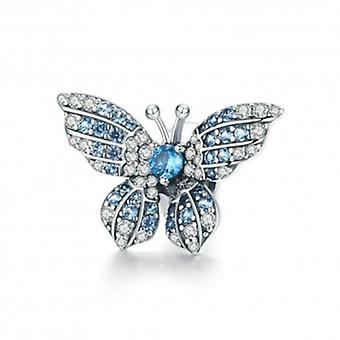Sterling Silver Charm Blue Shiny Butterfly - 6064