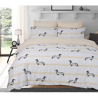 Wurst Hunde Ocker Bettwäsche Set