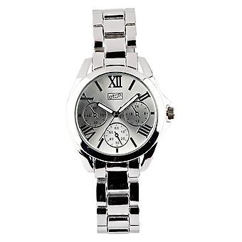 Eton Womens Boyfriend Style Fashion Watch, Silver Mock Chrono Dial - 3194L-SL