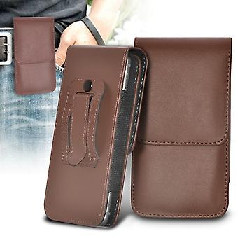 (Brown) Huawei Mate 9 Case High Quality Faux Leather Vertical Executive Pouch Holster Belt Clip Cover Case