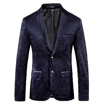 Cloudstyle Men's Blazer Floral Cotton Banquet Party Suit Jacket