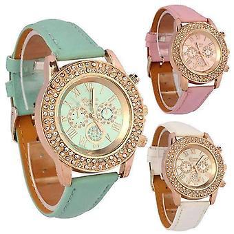 Cristalli stravaganti oro rosa orologio geneva con faccia corrispondente - quattro colori divertenti tra loro tra cui scegliere!