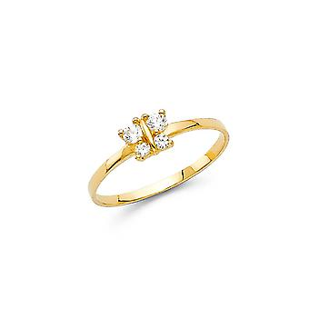 14k Yellow Gold Boys and Girls CZ Cubic Zirconia Simulated Diamond Ring Taille 3 - .5 Grammes