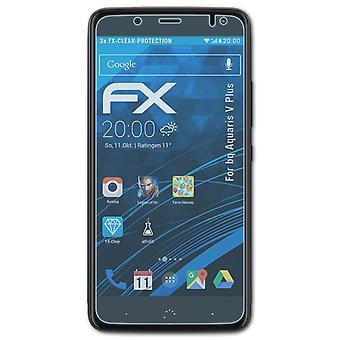 atFoliX 3x Screen Protection Film compatible with bq Aquaris V Plus Screen Protector matt&shockproof