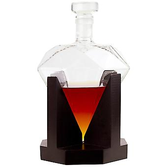 Diamond-shaped Carafe with Base in Red Oak