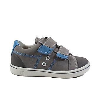 Ricosta Nippy 2623000-452 Grey/Blue Leather Boys Rip Tape Casual Shoes