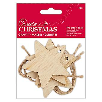 4 etiquetas de forma de estrella de madera para envoltura de regalo
