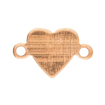Copper Blanks Miniature Heart Connector Pack of 10, 15mm X 9mm