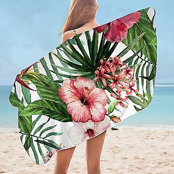 Hibiscus and Tropical Leaves Microfiber Beach Towel