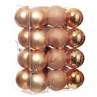 24 Blush Pink 8cm Shatterproof Christmas Tree Bauble Décorations