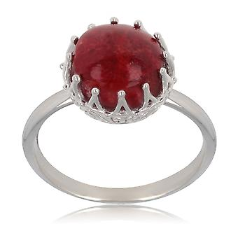 ADEN 925 Sterling Silver Coral Round Shape Ring (id 3985)