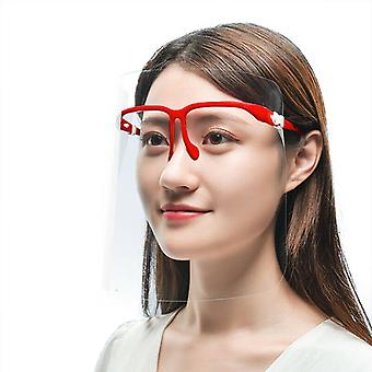 (Pack of 20) (Red) Full Face Shield Visor Glasses Protection Mask PPE Transparent Clear Plastic